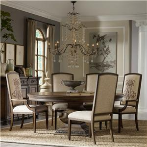 "Hooker Furniture Rhapsody 72"" Round Table and Insignia Dining Chairs"
