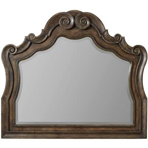 Serpentine Dresser Mirror with Beveled Glass and Grand Scroll Detailing