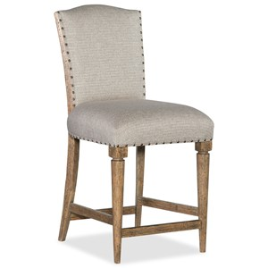 Deconstructed Counter Stool with Upholstered Seat and Back