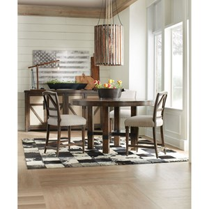 Round Adjustable Height Dining Table and Upholstered Counter Height Stool Set