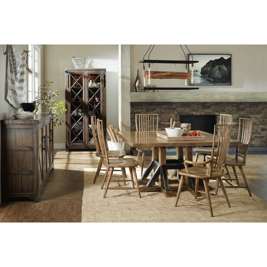 American Life - Roslyn County Trestle Dining Table and Chair Set by Hooker Furniture at Baer's Furniture