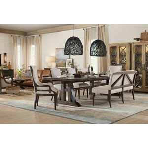 Trestle Dining Table with Leaves and Deconstructed Chair Set With Bench