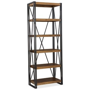 Industrial Bookcase with Black Metal Frame