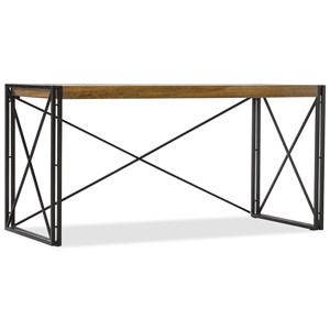 Industrial Writing Desk with Black Metal Base