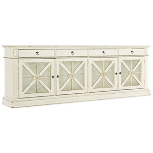 Transitional Grand Premier Entertainment Console with Built-in Outlet