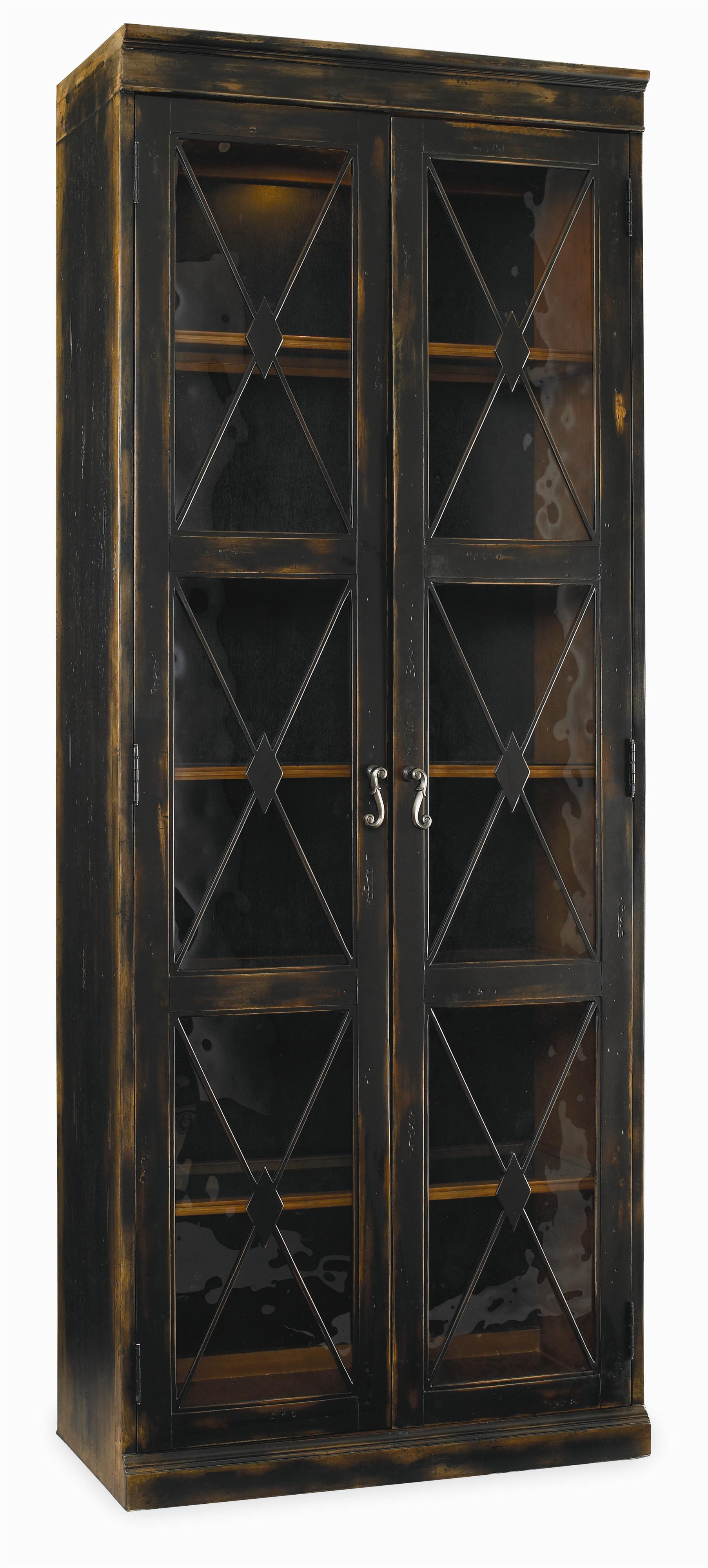 Sanctuary Two Door Thin Display Cabinet by Hooker Furniture at Miller Waldrop Furniture and Decor