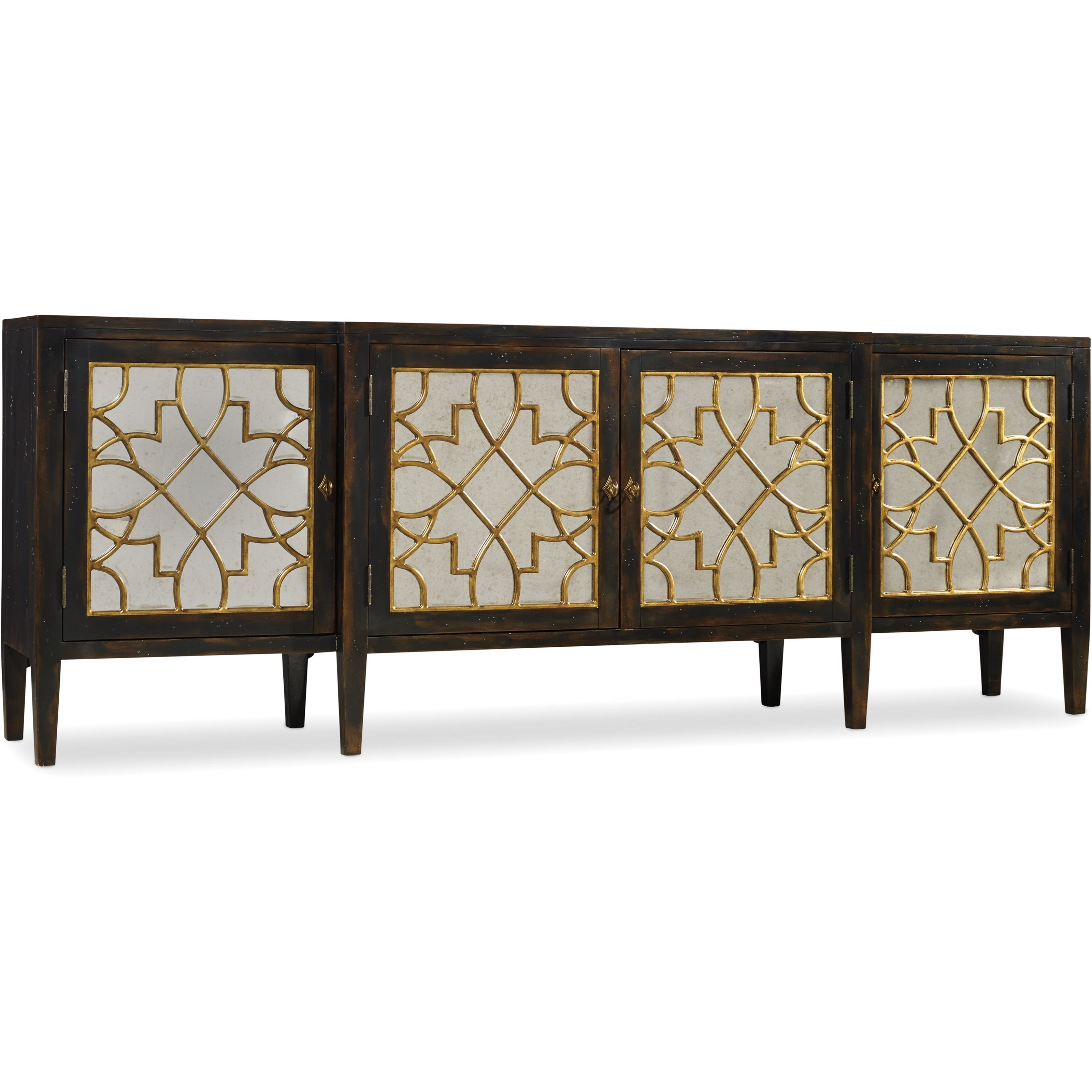 Sanctuary Four Door Mirrored Console by Hooker Furniture at Baer's Furniture