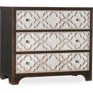 Transitional 3-Drawer Fretwork Chest