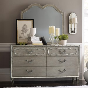 Relaxed Vintage Dresser and Mirror Set with Mirrored Accents
