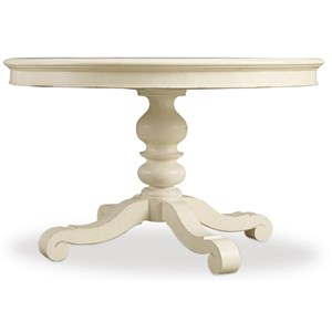 Adjustable Height 48in Round Dining Table with 2-12inch Leaves