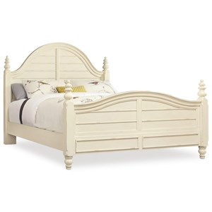 Queen Wood Panel Bed with Turned Finials