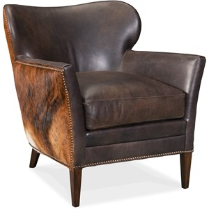 Kato Leather Club Chair with Hair on Hide Outside Back