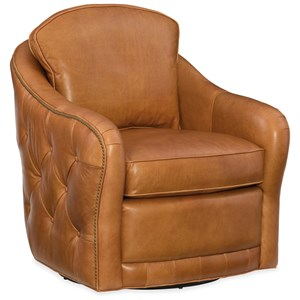 Hilton Swivel Club Chair with Tufted Exterior