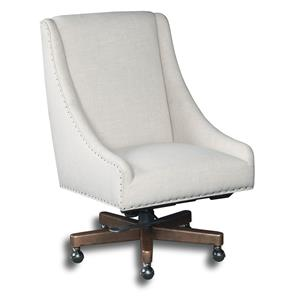 Contemporary Swivel Home Office Chair with Nailheads