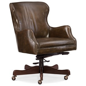 Caleb Leather Home Office Chair with Nailhead Trim