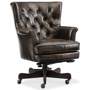 Theodore Leather Home Office Chair with Tufted Back