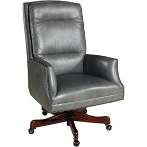 Transitional Executive Swivel Tilt Chair with Nailhead Trim
