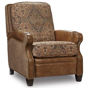 Traditional High Leg Recliner with Nailhead Trim