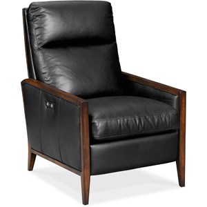 Transitional Power High Leg Recliner with Wood Accents