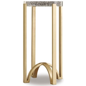 Metal Accent Table with Bubble Glass Top