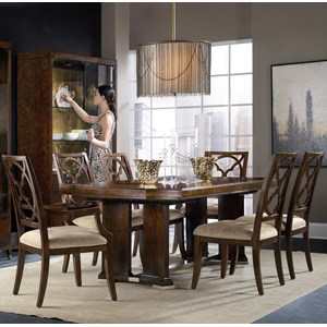 7 Piece Dining Set with Upholstered Chairs