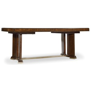 Trestle Dining Table with Metal Stretcher