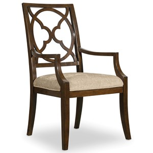 Fretback Arm Chair with Upholstered Seat