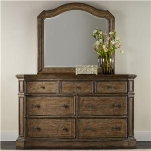 7 Drawer Dresser and Mirror Set with Serpentine Shaping