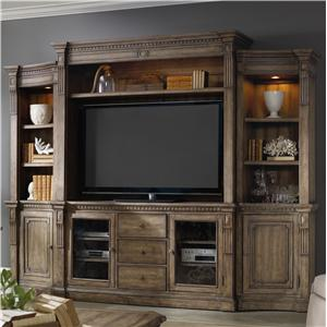4 Piece Wall Unit with Touch Lighting and Interchangeable Wood and Seeded Glass Panel Inserts