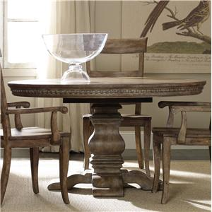 "Round Dining Table with Pedestal Base and 20"" Extension Leaf (1)"