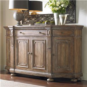 Shaped Credenza with Concave Side Doors, Decorative Panels and Wooden Knob Pull Hardware