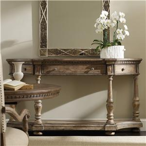 Demilune Console with Drop-Front Center Drawer and 2 Swing-Out Side Drawers