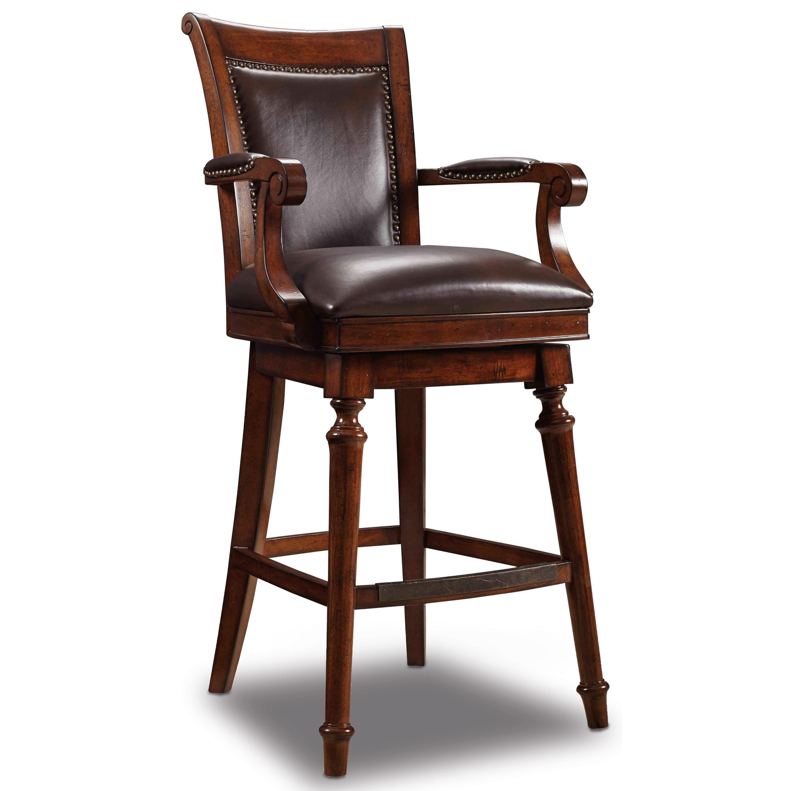 Stools Dark Merlot Barstool by Hooker Furniture at Miller Waldrop Furniture and Decor