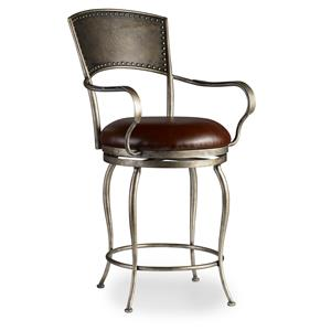 Metal Counter Stool with Leather Seat and Nailhead