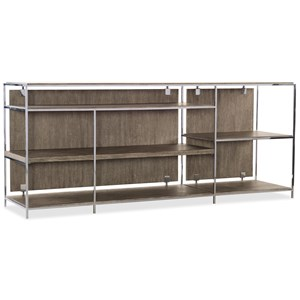 Contemporary Low Bookcase with Metal Accents