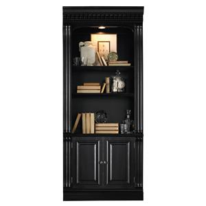 Bunching Bookcase with Touch Lighting and Door Storage