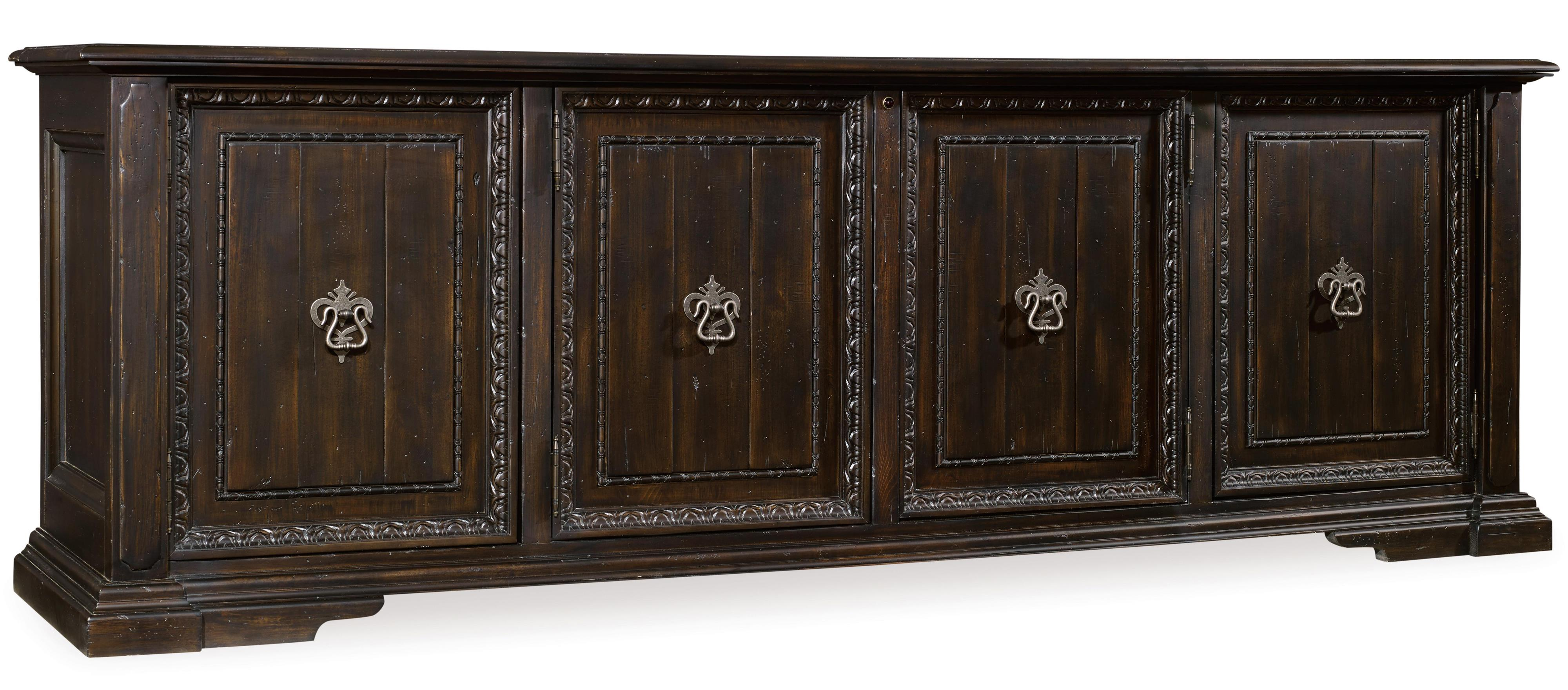 Treviso Entertainment Console by Hooker Furniture at Alison Craig Home Furnishings