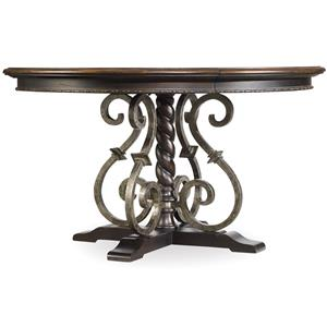 Round Dining Table with Wrought Iron Pedestal Detail