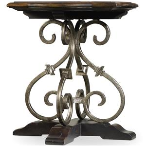 Lamp Table with Wrought Iron Accents