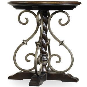 Round Nightstand with Wrought Iron Shaping