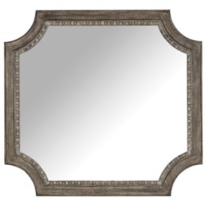 Shaped Mirror with Wood Frame