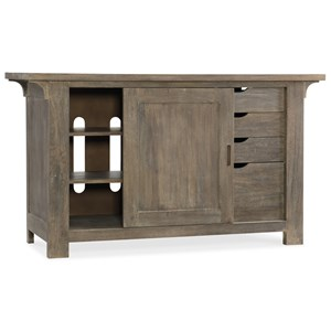 Rustic Solid Wood Credenza with Textured Finish