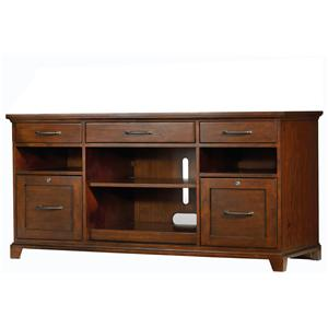 Computer Credenza with Dropfront Keyboard Drawer, Pullout Printer Storage and 2 Locking File Drawers