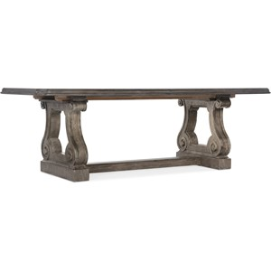 Traditional Trestle Dining Table with 2 22in Leaves
