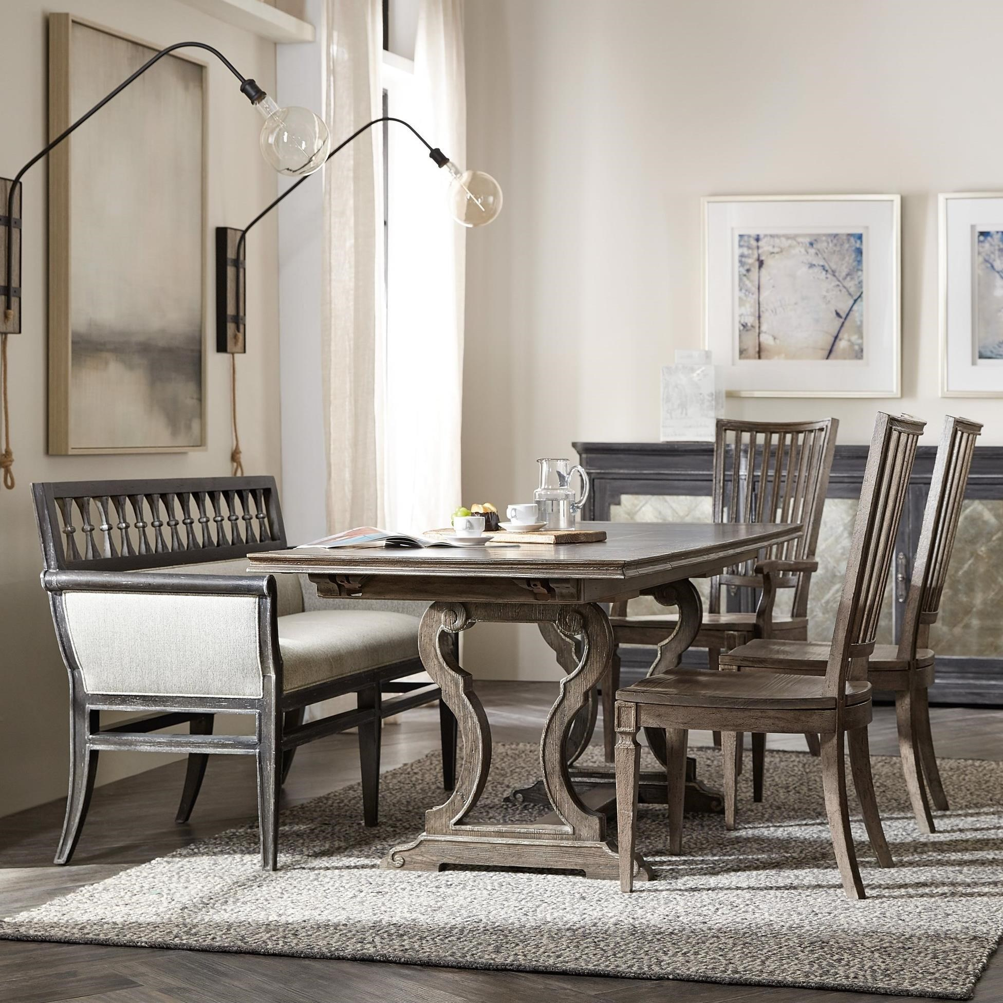 Woodlands 5-Piece Table and Chair Set with Banquette by Hooker Furniture at Stoney Creek Furniture