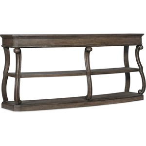 Traditional Curved Console Table with 2 Shelves