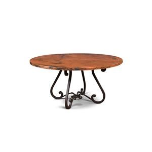 Hammered Copper Top Table with Metal Base