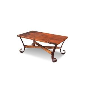 Hammered Copper Top with Metal Base Rectangular Cocktail Table
