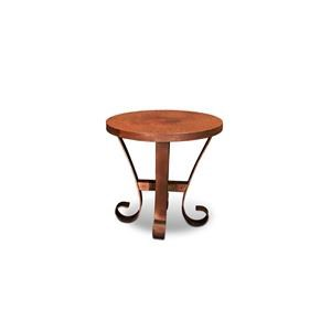 Hammered Copper Top with Metal Base Round End Table