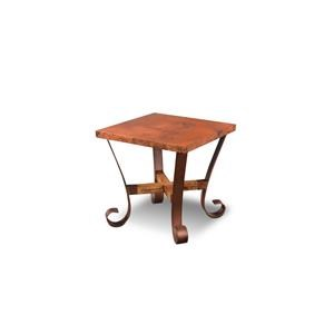 Hammered Copper Top with Metal Base Square End Table